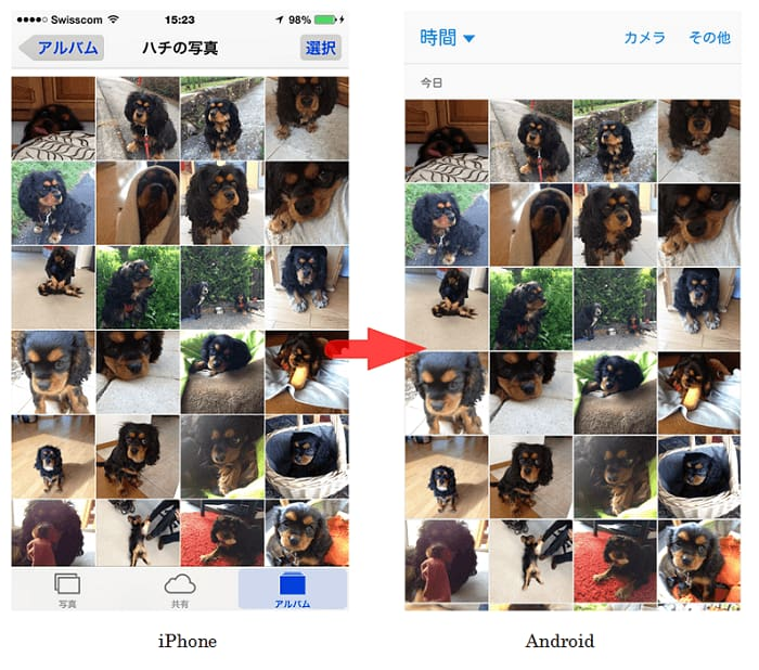 iPhoneの写真をAndroidに転送