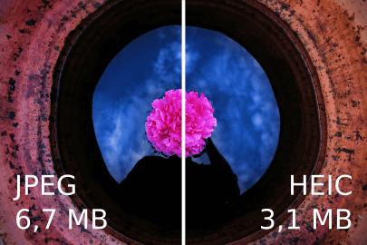 HEICとJPGのサイズを比較