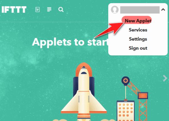IFTTTで「New Applet」を選択する