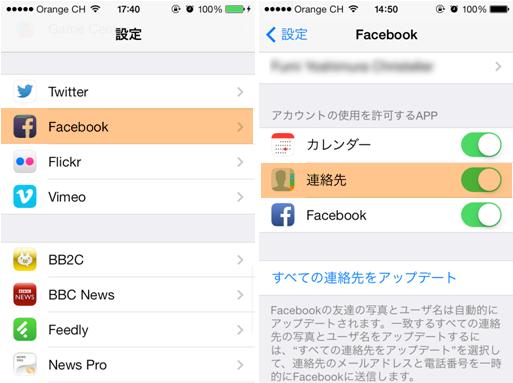 facebookの連絡先