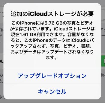 iCloudアップグレードオプション