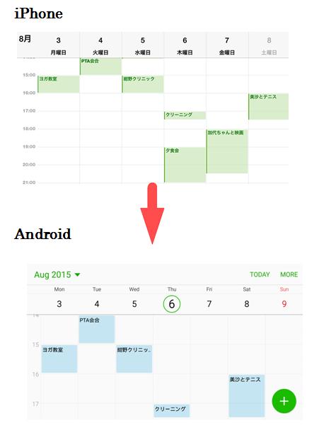 カレンダーをiPhoneからAndroidに移行