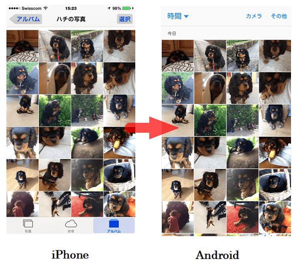 写真をiPhoneからAndroidに移行