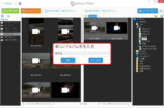 CopyTrans PhotoでPCからiPhone、iPadのアルバムに名前を付ける