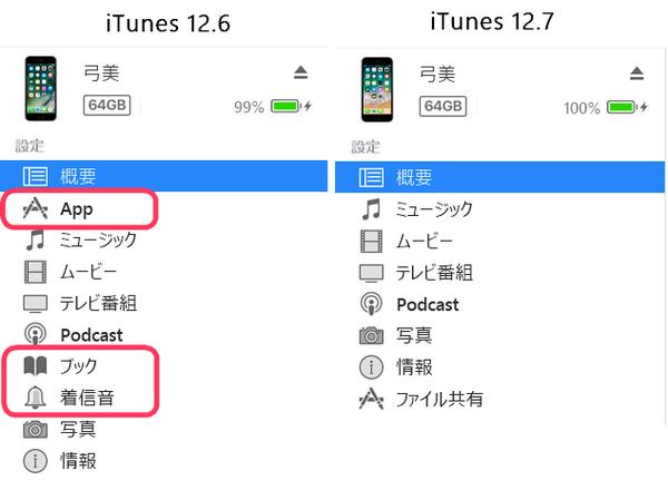 iTunes 12.6とiTunes 12.7の比較