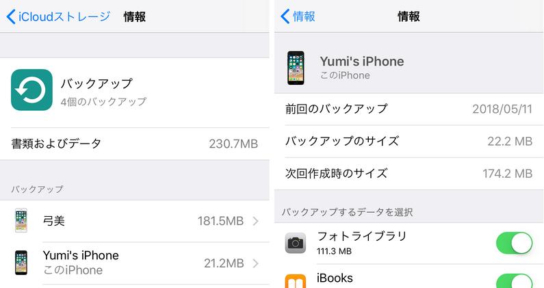 iPhoneでiCloudバックアップファイルを確認
