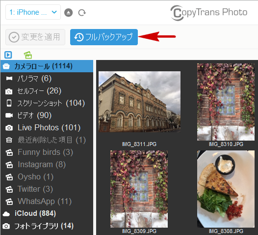 CopyTrans PhotoでiPhoneの写真をバックアップ