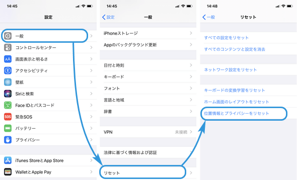 iPhone上位置情報とプライバシーをリセット