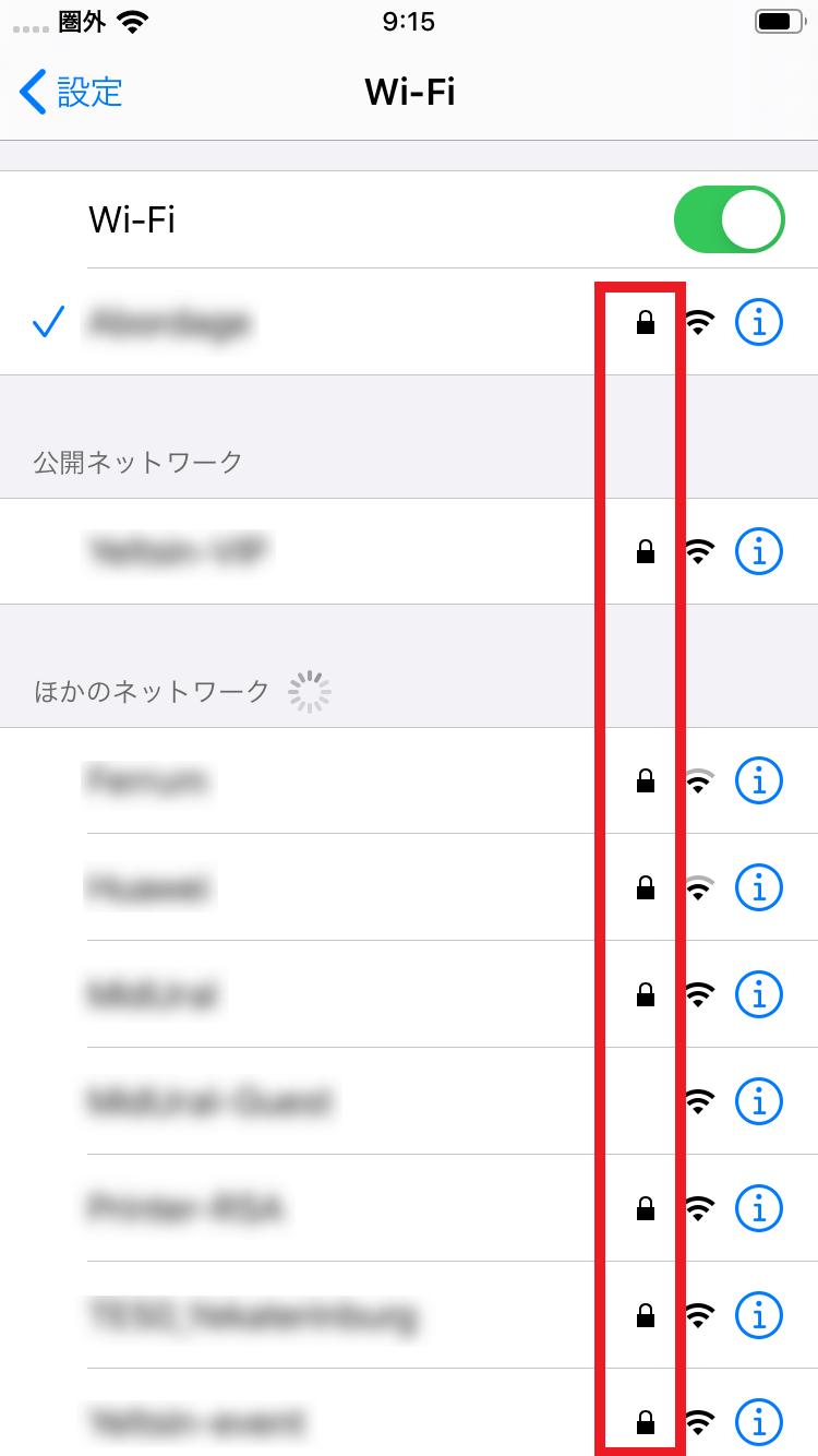 Wifiはセキュリティーで保護