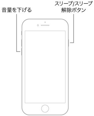 音量を下げるボタンとスリープ/スリープ解除ボタンの両方を同時に押さえたままにするiPhone 7を強制終了する
